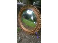 Vintage ornate gilt palster convex mirror HELSTON £15