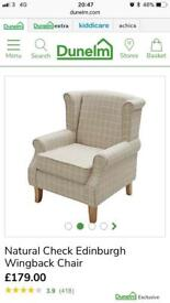 £170 off RRP - Dunelm cream checked wingback chair&footstool RRP £230