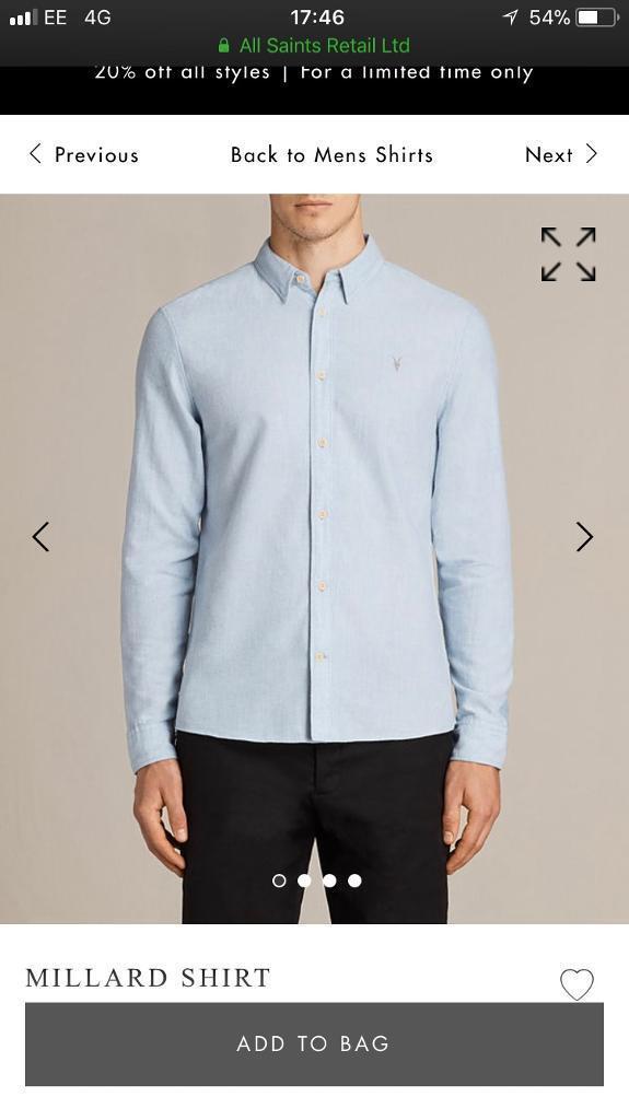 All Saints Mens Millard Shirt Size S