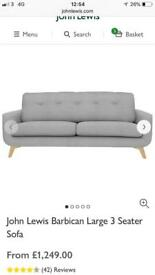 John Lewis 3 seater Barbican sofa - offers considered