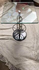 Pair of round tables, glass top & marble base,