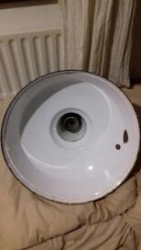 Very large green & white vintage lamp