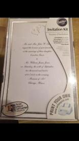 Wilton wedding invitations, white and silver (50)