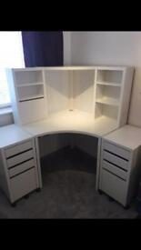 IKEA corner desk and office drawers