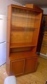 Wood & glass display cabinet, bookcase, storage