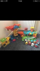 Vtech toot toot garage, crane & cars. Excellent condition.