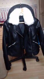 New Look black biker jacket with white fur collar (detachable) size 12.