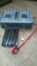 Portable gas stove with grill