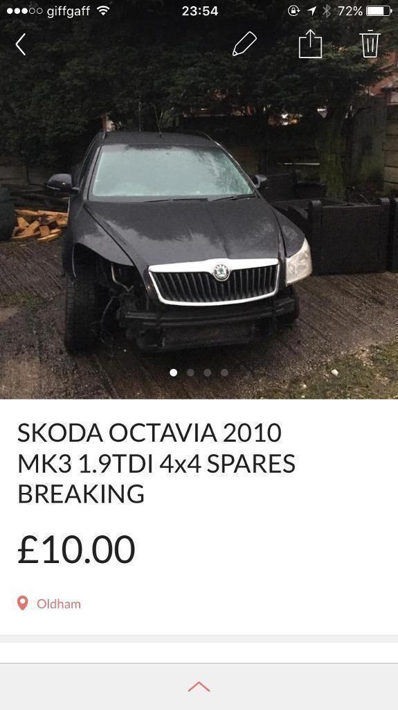 SKODA Octavia MK3 estate 2010 4x4 1.9tdi black spares breaking EC