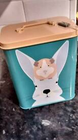 Guinea pig or rabbit food storage tin