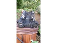 Oceanic Wolf BCD(lge), 12ltr &10ltr A clamp cylinders and UK600 dive light.