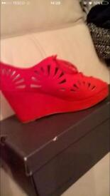 Red office wedge