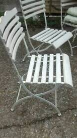 4 X BISTRO FOLDAWAY SHABBY CHIC CHAIRS WITH CUSIONS