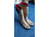 Women's leopard print wellington boots, size 6, by Next.
