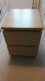 IKEA MALM beech effect bedside table/draw unit