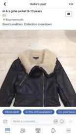 M& s girls jacket age 9-10 new
