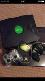 X box with controllers and 47 games