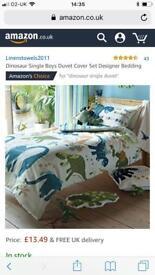 Dinosaur curtains and bedding