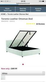 White gas lift double bed frame