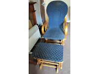 ROCKING CHAIR & STOOL (CAN BE USED FOR BABY NURSING) LIGHT WOOD/BLUE FABRIC