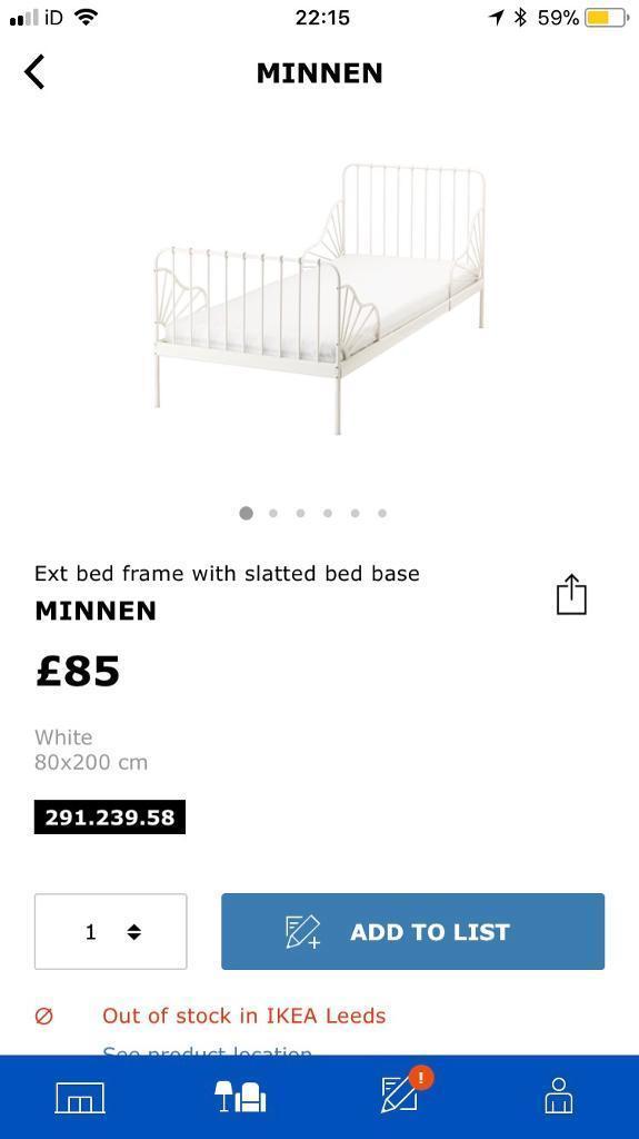 Ikea MINNEN extendable toddler single bed