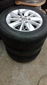 195 65 15 / 205 55 16 tires on OEM VW Golf Jetta alloy rims 5x112 / VW Tiguan Routan Passat Tuareg alloys in stock