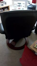 Like New Brown Leather Swivel/Rocking Chair & Stool