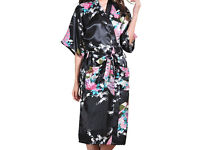 WOMENS BLACK PATTERNED SILKY DRESSING GOWN SIZE M - NEW AND PACKED