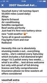 Vauxhall Astra 1.6 sport hard top convertible