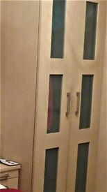 WARDROBES: THREE DOUBLES & ONE SINGLE, CONTEMPORARY LIGHT WOOD AND OPAQUE PANELS GOOD CONDITION