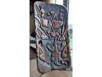VINTAGE ETHNIC CARVED WOODEN AFRICAN LAZY CHAIR