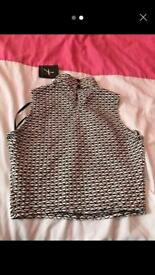Black and white high neck crop top size 10