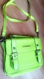 Ladies RIVER ISLAND bright yellow/green luminous handbag