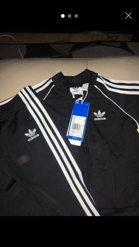 768b1c90dbf8 Kids Adidas Originals Black SST Tracksuit