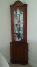 Cherrywood corner display cabinet. Made by Gola. Immaculate condition.