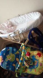moses basket bouncing chair +baby carrier all for £25
