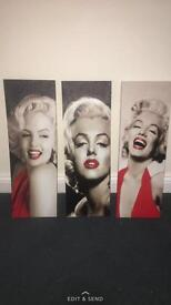 3 Marilyn moneoe canvas set