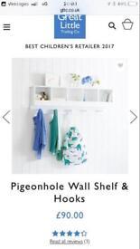 Pigeon hole wall shelf with hooks