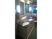 Large Bathroom Cabinets-Double Sink Vanity Unit-Wall Cabinets-Lights-Mirrors-Cupbords