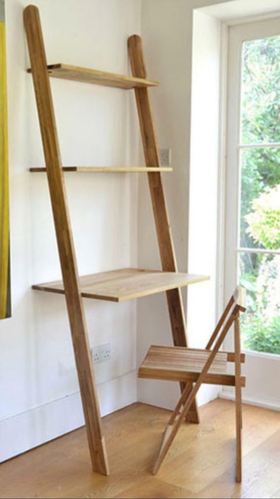Oak Leaning Desk With Shelves In