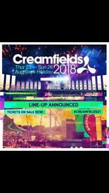 Creamfields 4 day ticket and car pass
