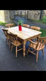 Lovely Solid Pine Farmhouse Table & 6 Chairs