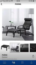 Ikea Poang Armchair + Footstool (matching black leather RRP £240)