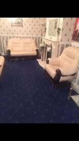 Nearly new Cream leather sofas,£600 bargain!