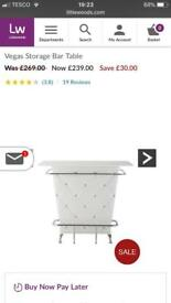 White Storage Bar Table. BRAND NEW IN BOX. £145