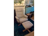 Reclining and swivel chair with foot rest