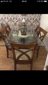 Solid wood and glass top dining table with 6chairs