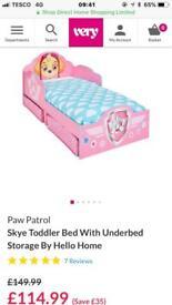 Paw patrol Skye toddler bed.