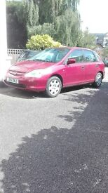 Honda Civic 1.6SE Red Manual I previous owner 2 keys timing belt changed Mot Nov 11th CD/DAB stereo