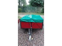 """5ft x 4ft x16"""" Small Car Trailer with Cover & Light Board."""